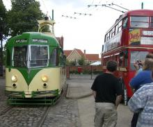 At the Tram Museum: A beautiful Blackpool tram sitting next to an equally handsome trolly bus at the tram museum.